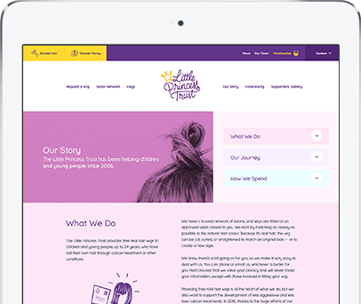 Cornwall Web Designers built the Little Princess Trust website.