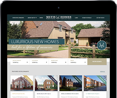 Cornwall Web Designers built the Metis Homes website.